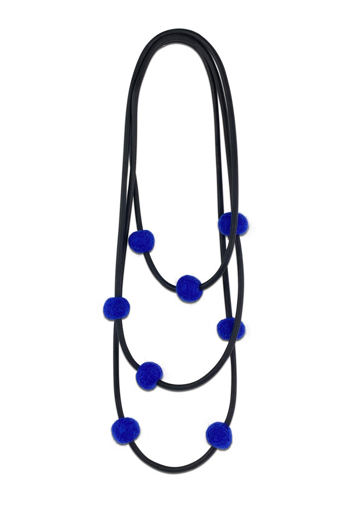 Frank Ideas 8 Felt Beads Necklace Blue