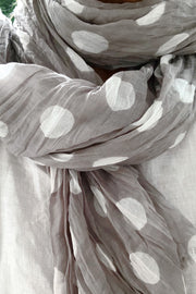 See Design Dots Cotton Scarf Grey/White