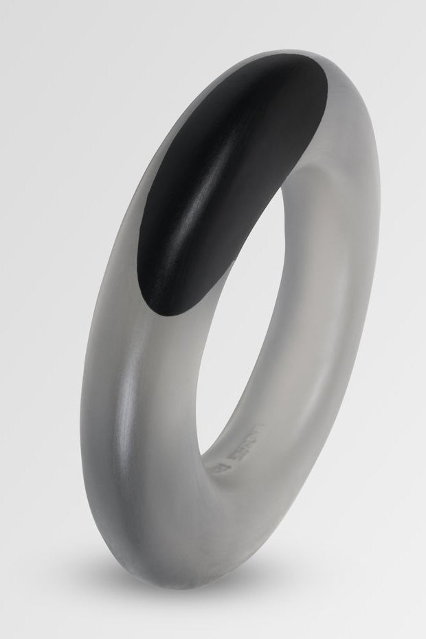 Dinosaur Designs Resin Disc Bangle Black Dot on Charcoal