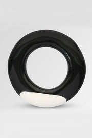 Dinosaur Designs Polished Resin Disc Bangle Chalk Dot on Black