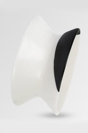 Dinosaur Designs Polished Resin Large Bow Bangle Black Dot on Chalk