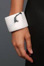 Dinosaur Designs Resin Long Band Bangle White Marble