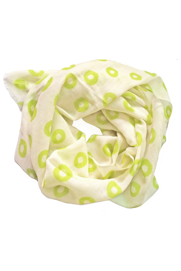 See Design Donut Wool Scarf Lime/White