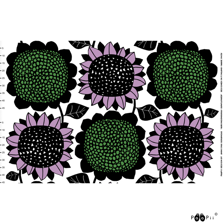 PaaPii Giant Sunflower Cotton Fabric Repeat Lilac