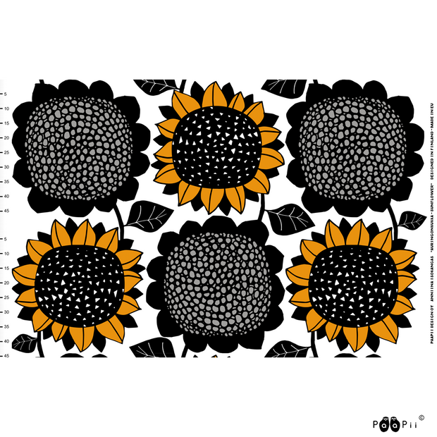 PaaPii Giant Sunflower Cotton Fabric Repeat Ochre