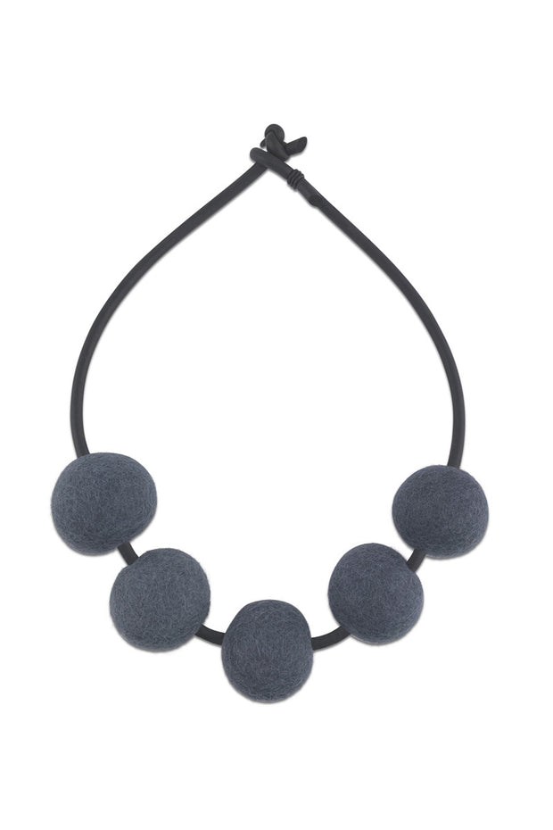 Frank Ideas Chunky 5 Felt Beads Necklace Grey