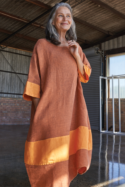 Kiitos Tulip Linen Dress Pumpkin Stripe
