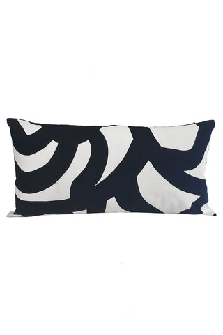 "Marimekko Joonas Custom 12x22"" Pillow Cover White/Black"