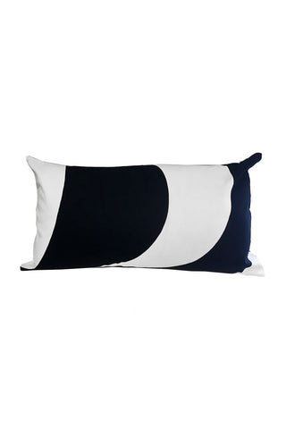 "Marimekko Kaivo Custom 12x22"" Pillow Cover White/Black"