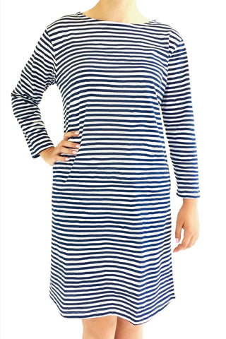 See Design Karma Stripe 3/4 Sleeve Dress Navy/White