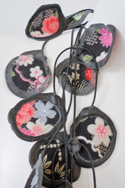 Annemieke Broenink Vintage Kimono Poppy Necklace Black/Pink Flower