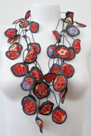 Annemieke Broenink Vintage Kimono Poppy Necklace Red Flower