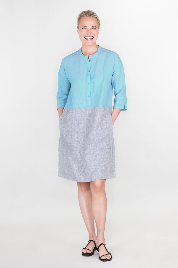 Ritva Falla Leona Dress Turquoise/Grey