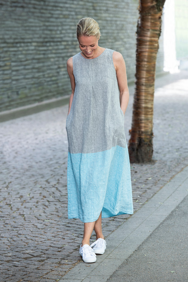 Ritva Falla Lindy Dress Turquoise/Grey