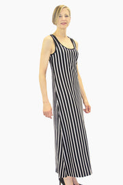 Ristomatti Ratia Long Striped Tank Dress Black/Beige
