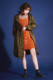 Long Mods Rain Coat Olive Green