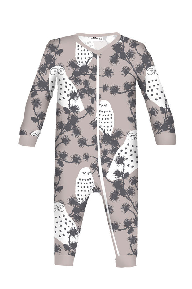 PaaPii Lulla Organic Jersey Baby Coverall Snowy Owl