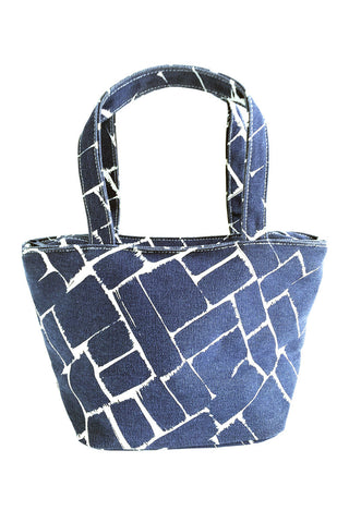 See Design Lunch Tote Bag Weave Ink/White