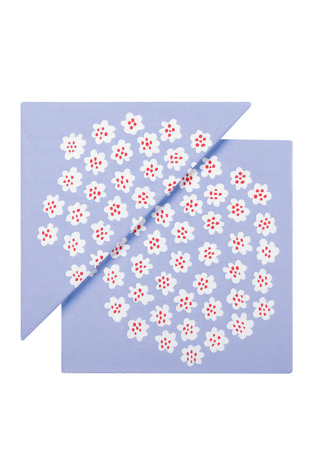 Marimekko Puketti Paper Luncheon Napkins Light Blue