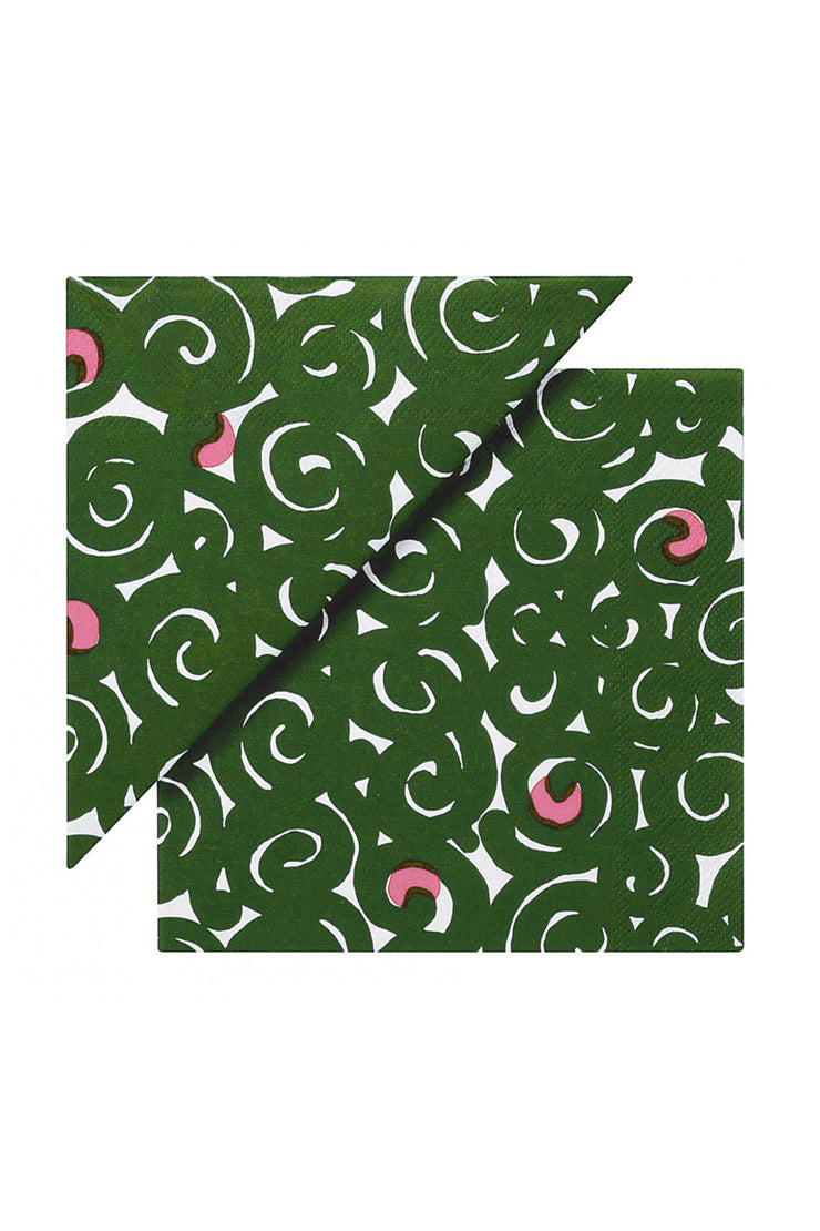 Marimekko Sonaatti Cocktail Napkins Green/Pink