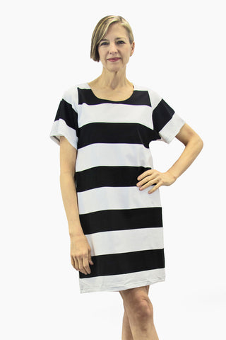 Ristomatti Ratia Maxi Stripe Sade Maxi Tunic Black/White