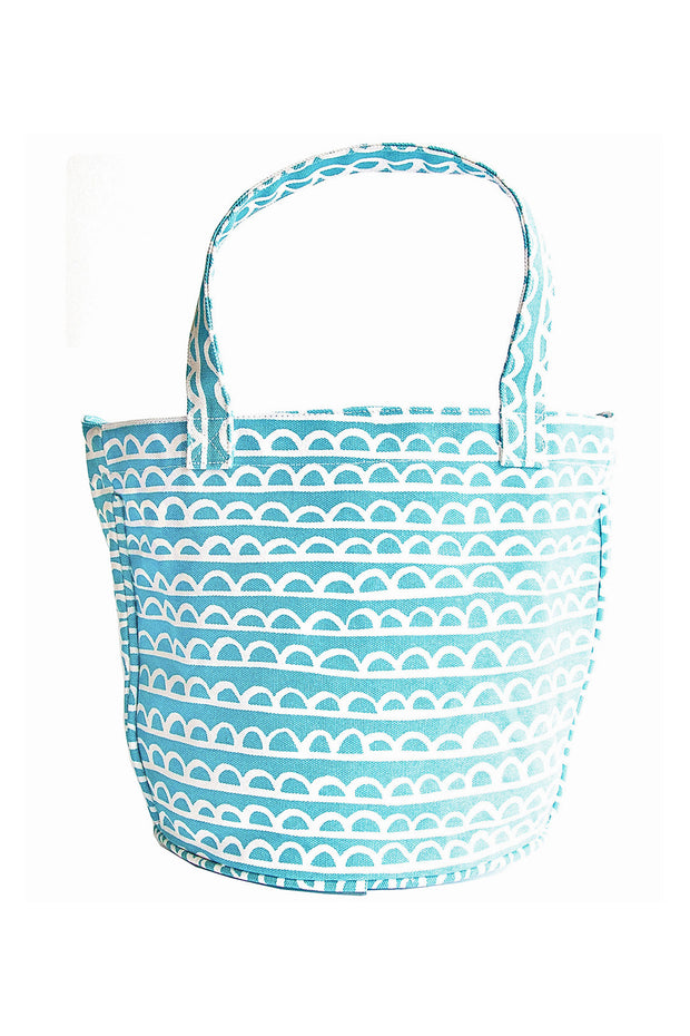 See Design See Design Medium Circle Tote Bag Scallop Aqua/White - KIITOSlife