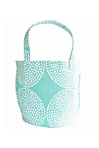 See Design Medium Circle Tote Bag Big Wheels Turquoise/White