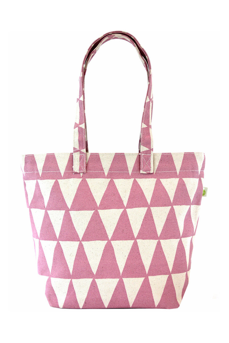 See Design See Design Medium Square Tote Bag Triangle Mauve/White - KIITOSlife