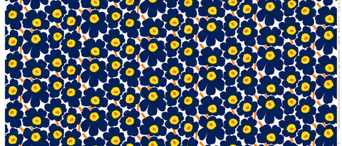 Marimekko Mini Unikko Fabric Ink Blue/Yellow/White