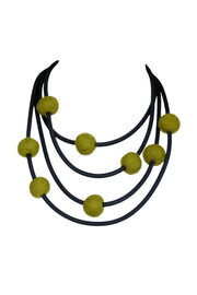 Frank Ideas 8 Felt Beads Necklace Olive
