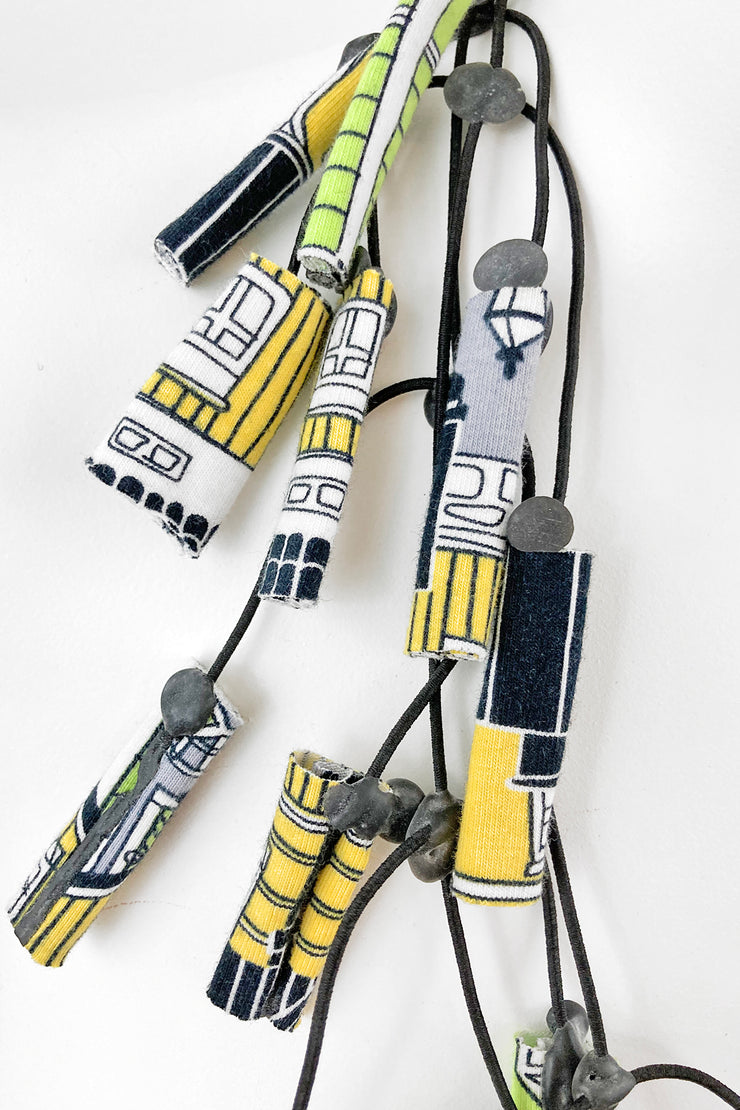 Annemieke Broenink PaaPii Fabric Roll Necklace Old Town Apple/Yellow