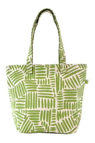 See Design Medium Square Tote Bag Path Green