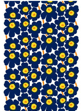 Marimekko Pieni Unikko 2 Fabric Ink Blue/Yellow/White