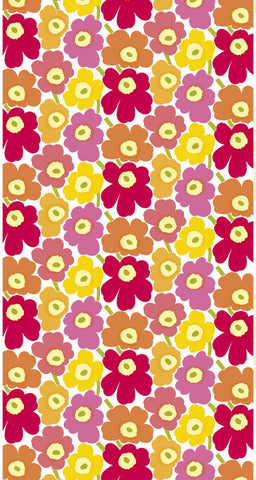 Marimekko Pieni Unikko 2 Fabric Pink/Red/Orange