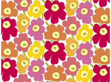 Marimekko Pieni Unikko 2 Oilcloth Fabric White/Yellow/Pink/Orange