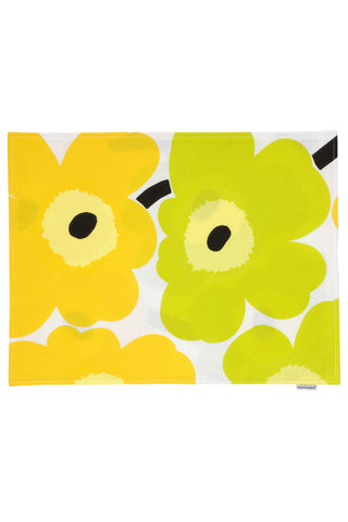 Pieni Unikko Fabric Placemat Lime/Yellow/White