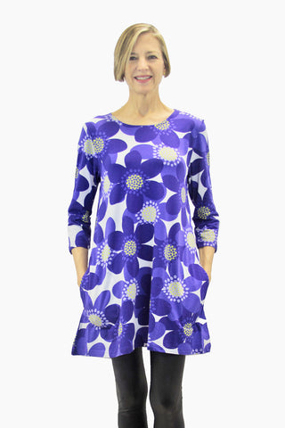 Ristomatti Ratia Sinivuokko Pisara Tunic Blue/White