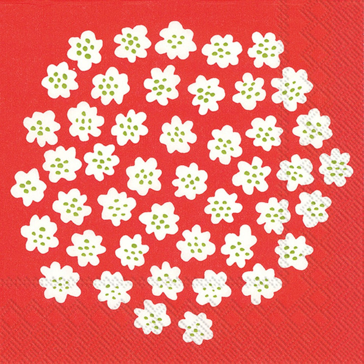 Marimekko Marimekko Puketti Cocktail Napkins Red/White - KIITOSlife