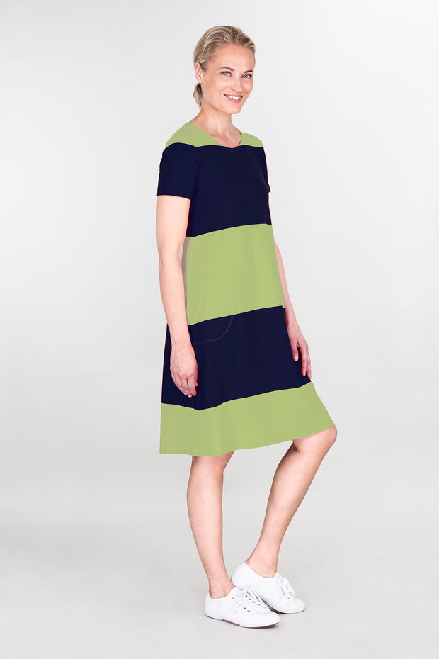 Ritva Falla Elena Dress Navy/Green