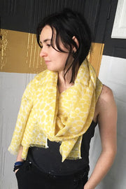 See Design Dabs Linen Scarf Straw/White