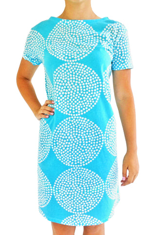 See Design Big Wheels Dress Aqua/White