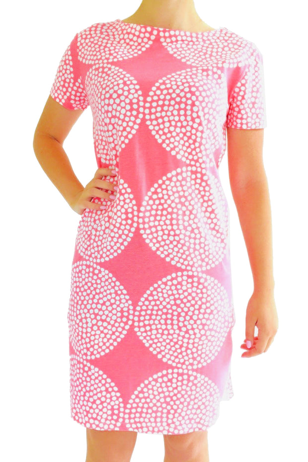 See Design Big Wheels Dress Coral/White