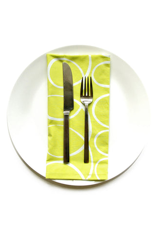 See Design Fabric Dinner Napkins (Set of 8) Sugar Citron/White