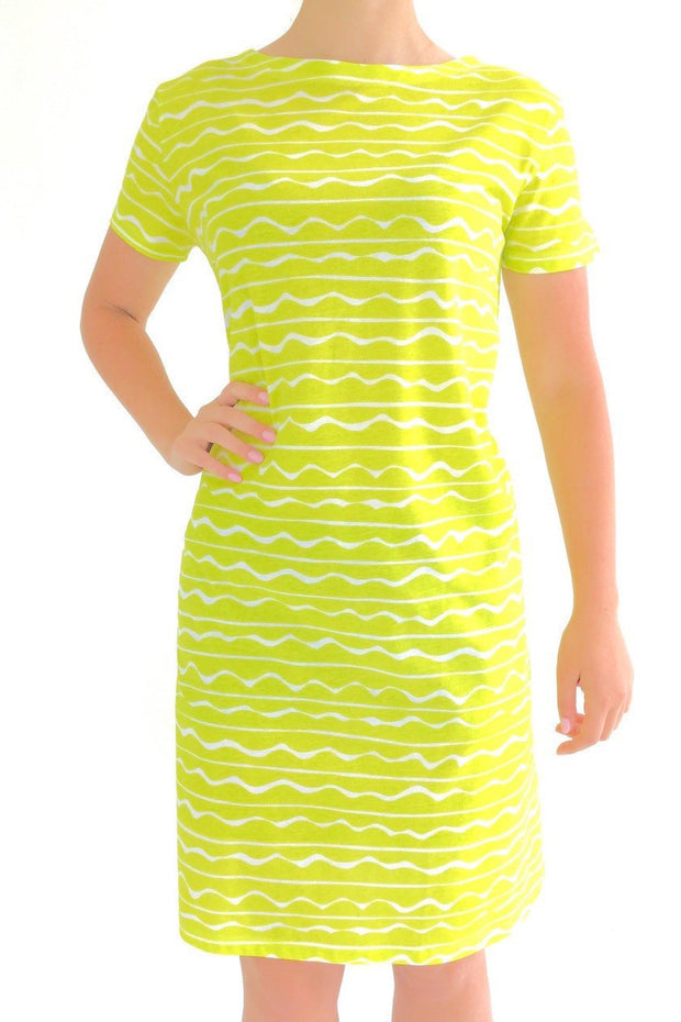 See Design Happy Stripe Dress Lime/White