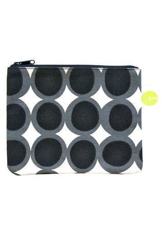 See Design Large Coin Purse Egg Black/Grey