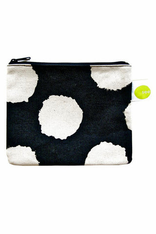 See Design Large Coin Purse Ikat Black/White