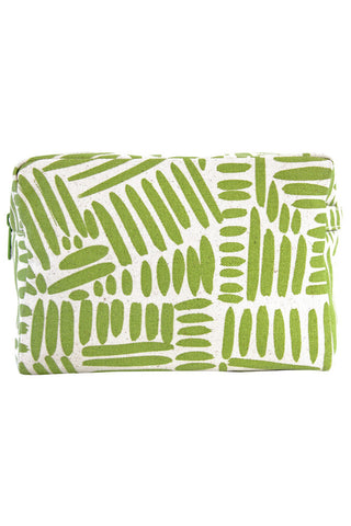 See Design Large Cosmetic Bag Path Green/White