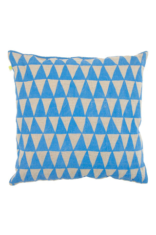 "See Design 20"" Pillow Cover Triangles Blue/Natural"