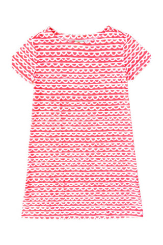 See Design Scallop Dress Coral/White