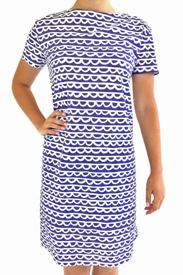 See Design Scallop Dress Indigo/White